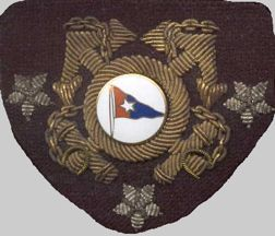 red/blue pennant on hat badge